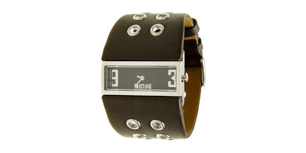 Dámské ocelové hodinky Mustang s hnědým širokým řemínkem