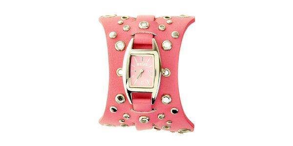 Dámské růžové hodinky Mustang s koženým řemínkem