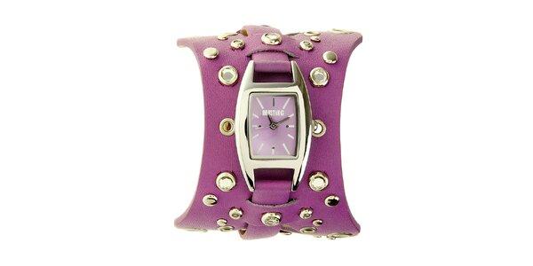 Dámské fialové hodinky Mustang s koženým řemínkem
