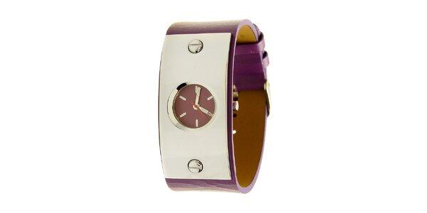 Dámské ocelové hodinky Mustang s fialovým řemínkem