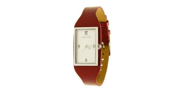 Dámské ocelové hodinky Mustang s červeným koženým řemínkem