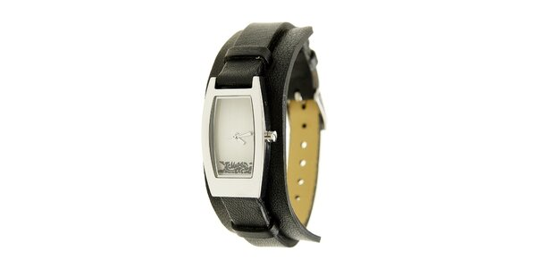 Dámské ocelové hodinky Mustang s černým koženým řemínkem