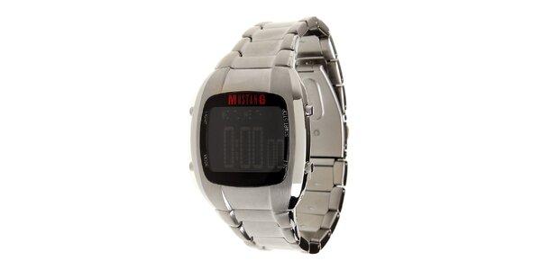 Pánské stříbrné ocelové digitální hodinky Mustang