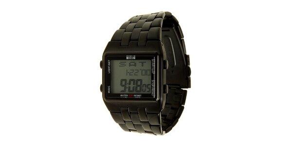 Pánské černé ocelové digitální hodinky Mustang