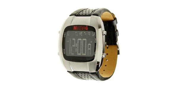 Pánské digitální hodinky Mustang s černým koženým řemínkem