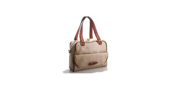 Dámská béžová kabelka Belle & Bloom v efektu pštrosí kůže
