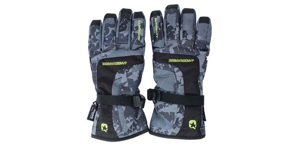 Šedé lyžařské rukavice se vzorem Authority