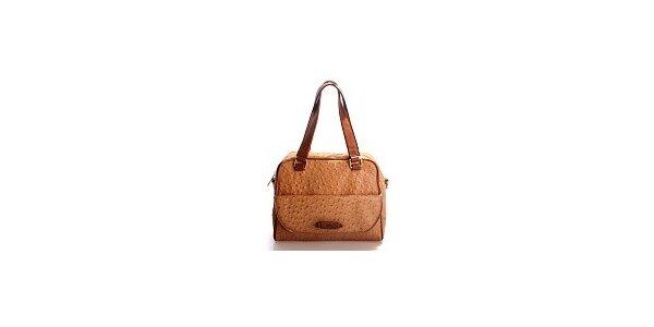 Dámská hnědooranžová kabelka Belle & Bloom v efektu pštrosí kůže