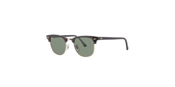 Černé sluneční brýle Ray-Ban Clubmaster se zlatými obroučkami
