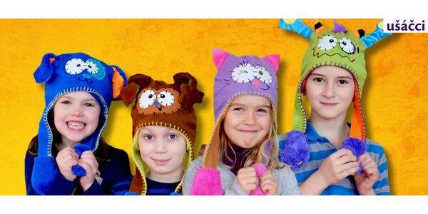 Veselé dětské čepice s pohyblivými oušky