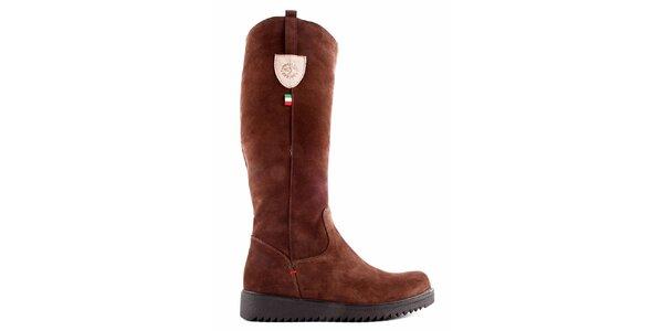 Dámské hnědé boty se zipem Karino