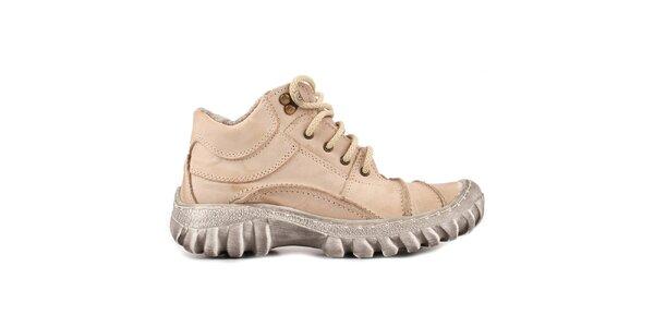 Dámské béžové boty s kožíškem Marcello