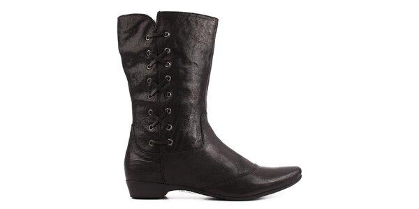 Dámské černé kotníkové boty Toscania s ozdobným šněrováním