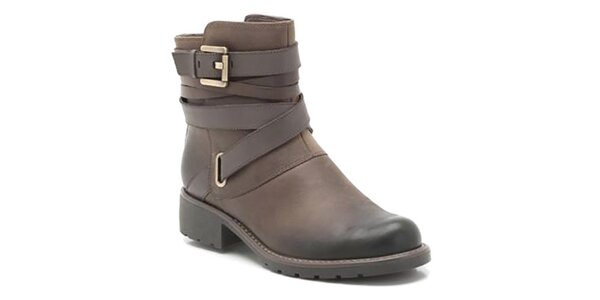 Dámské kožené hnědé boty s přezkami Clarks