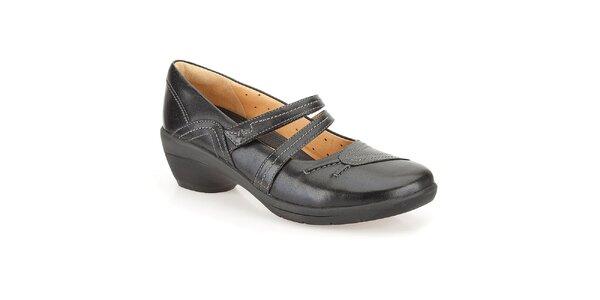 Dámské černé boty s pásky přes nárt Clarks