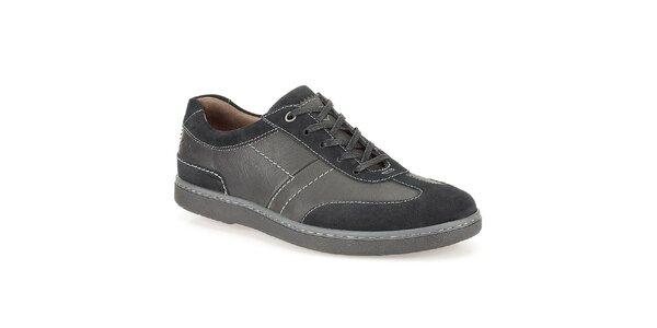 Pánské černé boty s prošíváním Clarks