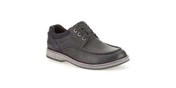 Pánské prošívané černé kožené boty Clarks
