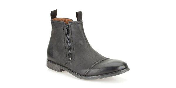 Pánské chelsea černé kožené boty Clarks