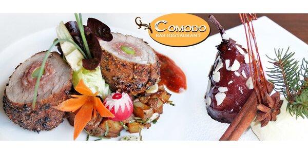 Výtečné dvouchodové menu v restauraci Comodo pro dva