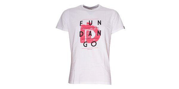 Pánské bílé triko s nápisem Fundango