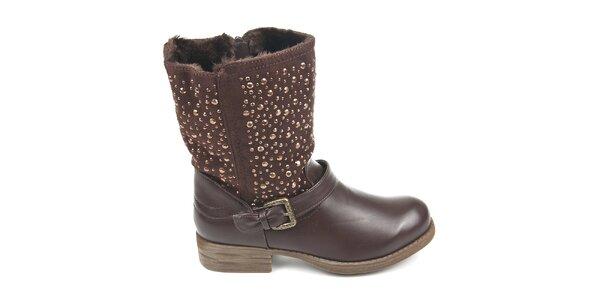 Dámské hnědé boty s ozdobnými detaily Destroy
