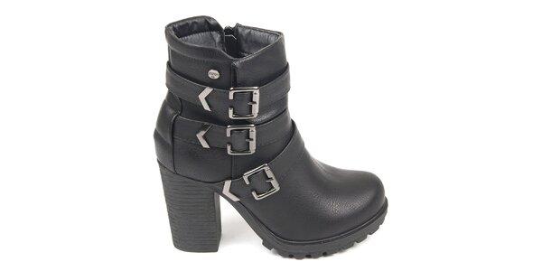 Dámské černé kotníkové boty s pásky přes nárt Destroy