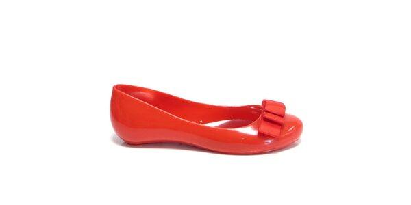 Dámské červené baleríny Favolla s mašličkou