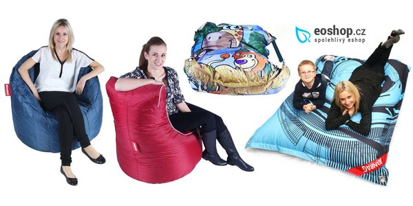 Designové sedací vaky různých tvarů a barev