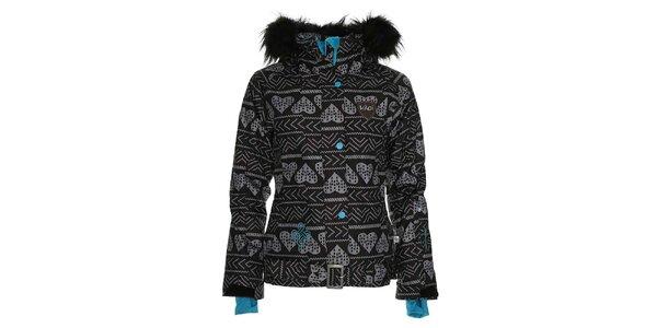 Dámská černá snowboardová bunda se srdcovým potiskem Kilpi