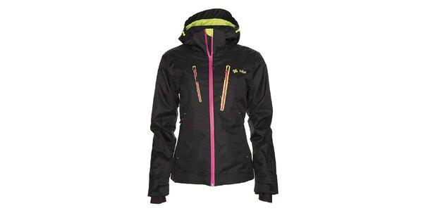 Dámská černá snowboardová bunda s růžovým zipem Kilpi
