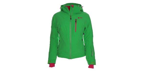 Dámská zelená lyžařská bunda s růžovými detaily Kilpi