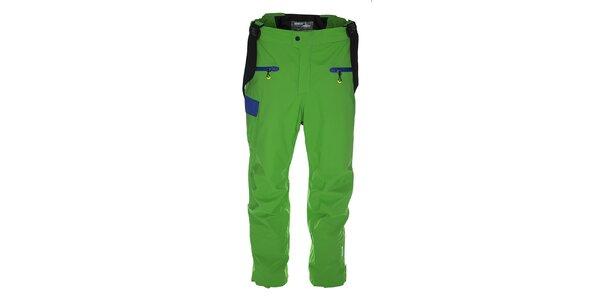 Pánské zelené lyžařské kalhoty s modrými detaily Kilpi