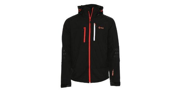 Pánská černá softshellová bunda s červeným zipem Kilpi