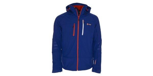 Pánská modrá softshellová bunda s červeným zipem Kilpi
