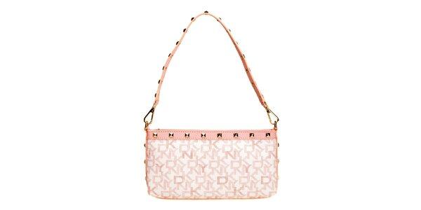 Dámská růžová kabelka s nápisy DKNY