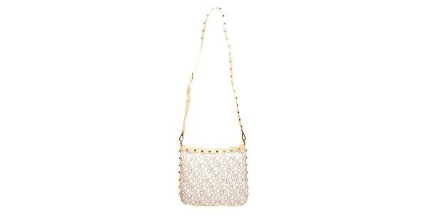 Dámská kabelka s nápisy DKNY - slonovinová