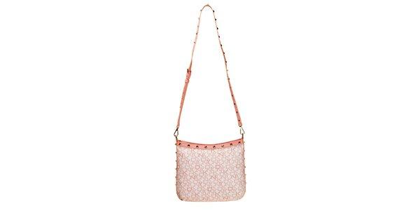 Dámská kabelka s nápisy DKNY - růžová