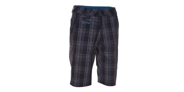 Pánské šedé vzorované šortky s modrými detaily Kilpi