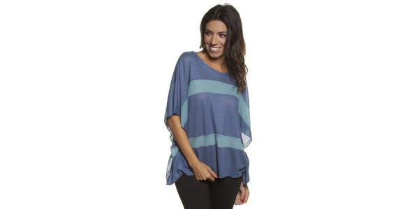 Dámské volné modré tričko s pruhy Blue Velvet