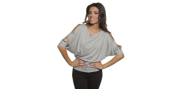 Dámské šedé tričko s průstřihy v ramenou Blue Velvet