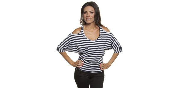 Dámské pruhované tričko s vykrojenými rameny Blue Velvet