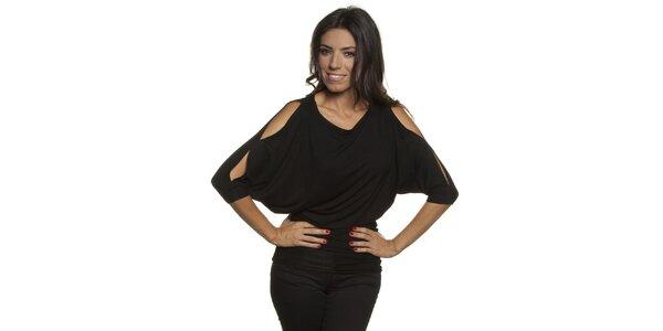 Dámské černé tričko s průstřihy v ramenou Blue Velvet