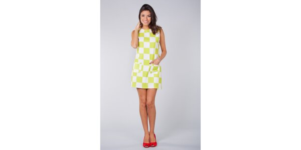 Dámské limetkovo-bílé šaty Blue Velvet s šachovnicí