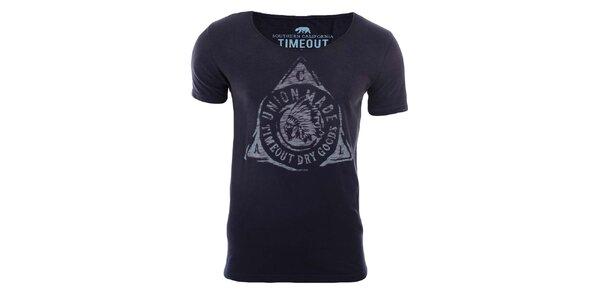 Pánské tmavě modré tričko s indiánem Timeout