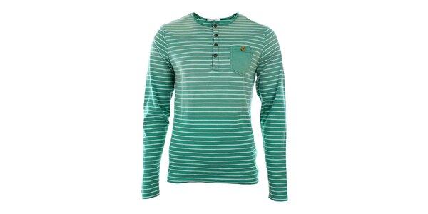 Pánské zelené pruhované tričko s dlouhým rukávem Timeout