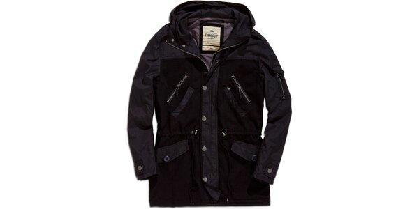 Pánský černý krátký kabát s kapucí Timeout