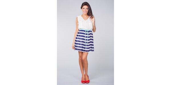 Dámské modro-bílé plisované šaty Blue Velvet
