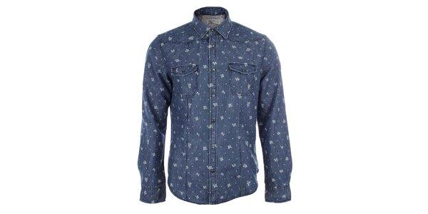Pánská modrá košile se svislými proužky a květy Timeout
