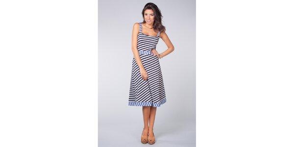 Dámské modro-bílé námořnické šaty Blue Velvet