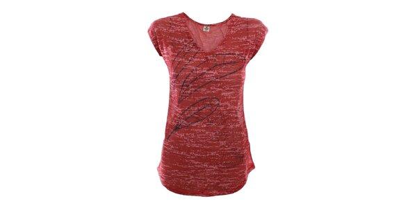 Dámské červené tričko s peříčky Timeout